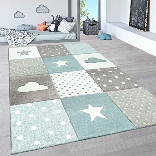 Paco Home Kinderteppich, Kinderzimmer Pastell Teppich mit 3D Wolken u. Stern Motiven, Grösse:140x200 cm, Farbe:Blau 3