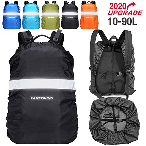 FANCYWING Waterproof Backpack Rain Cover with Reflective Strap, Upgraded 10-90L Non-Slip Rainproof Backpack Cover for Hiking, Camping, Hunting, Rain Cycling, Gray, S