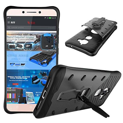 Qiaogle Telefon Case - Shockproof TPU + PC Hybrid Ständer Schutzhülle Case für Letv LeEco Le 2 X620 / LeEco Le 2 Pro (5.5 Zoll) - CD01 / Schwarz & Grau