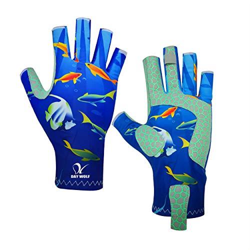 day wolf UV-Schutz Angelhandschuhe Atmungsaktiv Fingerlos UPF 50+ für Rudern im Freien Kajak Paddeln Wandern Radfahren Fahren Schießtraining für Männer und Frauen (S, Blaufisch)