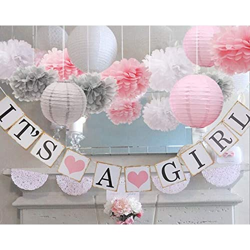 Pink And Gray Baby Shower Decorations Amazon Com