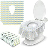 Toilet Seat Covers Disposable - 30 Pack - Extra Large Portable Liners for Bathroom, Road Trip, Child Travel, Toddler Potty Training, Adults On the Go - Individually Wrapped, Waterproof, Soft Clean Pad