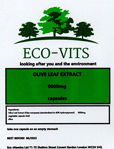 ECO-VITS Olive Leaf Extract (9000MG) 60 CAPS. Biodegradable Packaging. Sealed Pouch