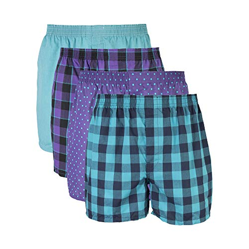 Gildan Men's Woven Boxer Underwear Multipack, Mixed Purple, Large