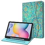Fintie Funda Compatible con Samsung Galaxy Tab S6 Lite de 10.4' con Portalápiz - [Multiángulo] Trasera de TPU Suave con Bolsillo para Modelo SM-P610/P615, Jade