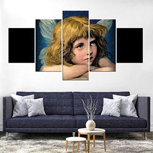 LIVELJ Geschenk,HD Panel Home Büro Poster 5 Teilig Leinwand stück Kunstdruck Lein wandbild modern Wand Aufhängen Dekoration Bild/Christian Angel/Kein Rahmen