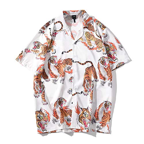 Zomer Heren Dier Tijgerprint Korte Mouw Mode Casual Revers Shirt Stranden Feesten Vakantie Cruises Camping XXL Wit