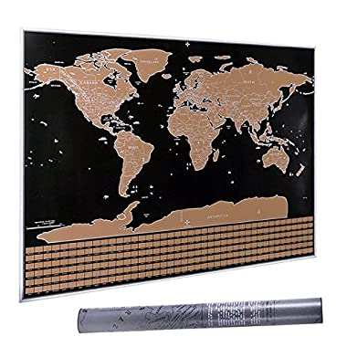 32.5  x 23.4  Scratch Off The World Map, CNSUNWAY LIGHTING Travel Map Poster (Black Scratch Off The World Map)