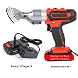 YINGY 21V Cordless Scissors, Rechargeable Electric Metal Sheet Shear Cutters with Rotating Head