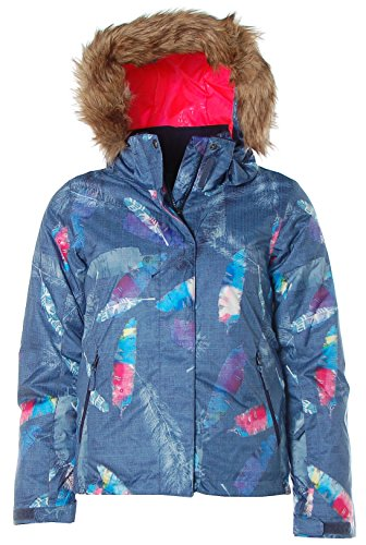 Roxy Mädchen Winterjacke Snowboardjacke Jacke abnehmbare Kapuze (164, Blau)