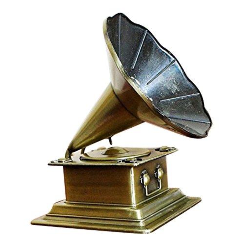 MagiDeal Kreativ Retro Grammophon Modell Plattenspieler Phonograph Antikstil Romantische Trichtergrammophon Modell Haus Büro Club Dekoration