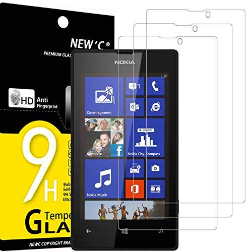 NEW'C 3 Pezzi, Vetro Temperato Compatibile con Nokia Microsoft Lumia 520, Pellicola Prottetiva Anti Graffio, Anti-Impronte, Durezza 9H, 0,33mm Ultra Trasparente, Ultra Resistente