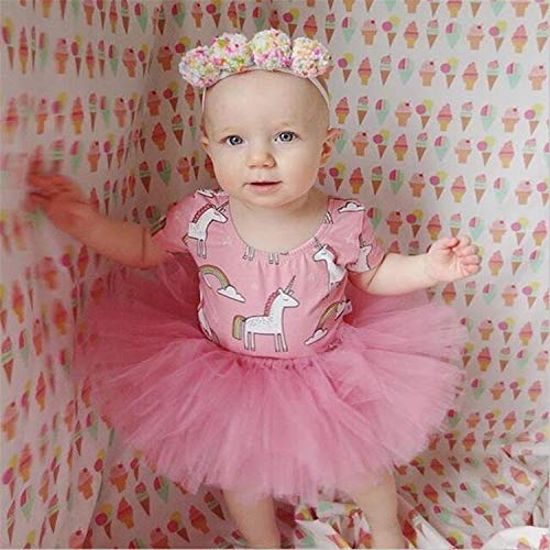 BABIFIS Infant Toddler Baby Girls Clothes, 2pcs, Robe de Princesse de Fille, Jupe en Tulle imprimé Licorne