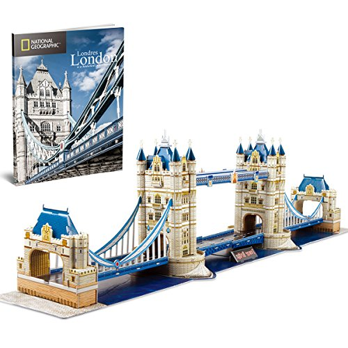 CubicFun 3D Puzzles for Kids Adults National Geographic Tower Bridge UK London Architecture Model Kit Game Toy to build Gift for Children and Adults, 120 Pieces