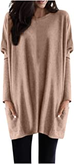 WOCACHI Tunic Blouses for Womens, Plus Size Solid Crew Neck Sweatshirt Loose Pockets Pullover Oversized Tops
