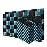 Super Dash 96 Unidades de 50 X 50 X 5cm Insonorización Hemisferio Seta Espuma Absorción Aislamiento Acústica Paneles Tratamiento Conjunto SD1040 (Negro & Azul Claro)
