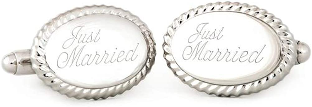 Engraved Just Married Oval Beaded Edge Cuff Links