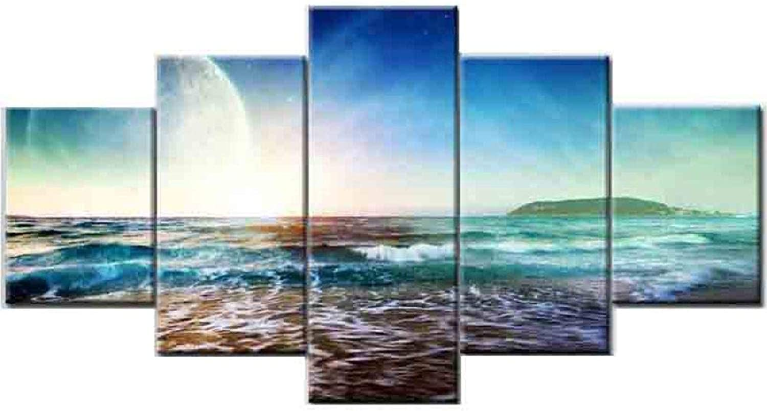 BBG @ Landscape Beach Decorative Painting,Frameless Painting Canvas Painting Core 5 Pieces Decorative Painting Living Room Bedroom Office Sofa Background A   90  150cm