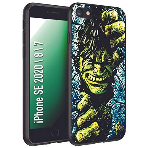 INKOVER Cover per Apple iPhone SE 2020/8 / 7 Custodia in TPU Nero Opaco Protettiva Guscio Sottile Slim Fit Morbida Design Hero Supereroi Eroi Hulk Gialla Verde