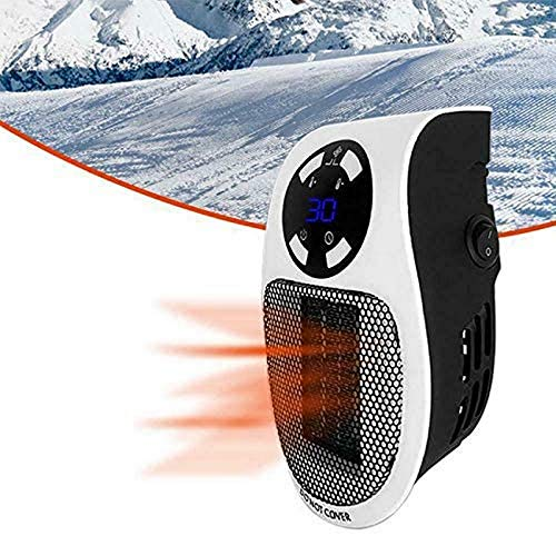 Portable Electric Fan Heater, 500W Mini Ceramic Space Heater Fan with Remote control, Built-in timer function, Personal Energy Efficient Heater with Safety Protection for Home Bedroom Office Desk