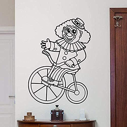 Muurstickers, Fashion Circus Clown Muursticker Verwijderbare Circus Clown Bike Mode Kwekerij Slaapkamer Decoratie Cartoon Stijl Muur Kunst muurschildering 57x78cm