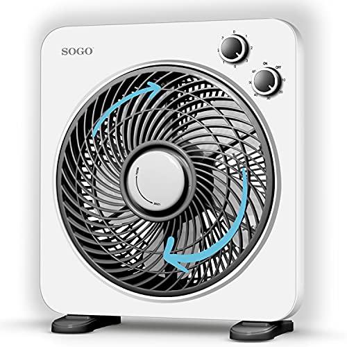 Sogo Ventilador de sobremesa o suelo FanBox con 3 velocidades, bajo en ruido, temporizador hasta 1 hora, 5 aspas, y rejilla-difusor rotatoria (33x35 cm)