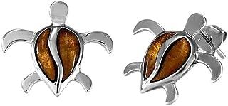 Sterling Silver Koa Wood Turtle Stud Earrings