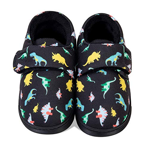 Zapatillas de Estar por Casa para Niñas Niños Pantuflas de Cálido Antideslizante Invierno Caliente Peluche Forradas Slippers(Dinosaurio Negro,30/31EU)