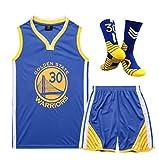 EPMR Traje de Baloncesto Clippers 30# Curry, Traje de Bola de Transferencia de Calor Que se Puede Lavar repetidamente, Traje de Ventilador cómodo y Transpirable-Blue-L