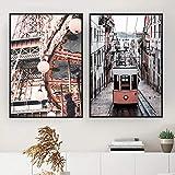 París Torre Rosa Ciudad Coche Paisaje Moda Posteres Moderno Pared Arte Lienzo Pintura Cuadros para Salon Habitación Dormitorio Pared Decoracion 40X60cmx2 No Enmarcado