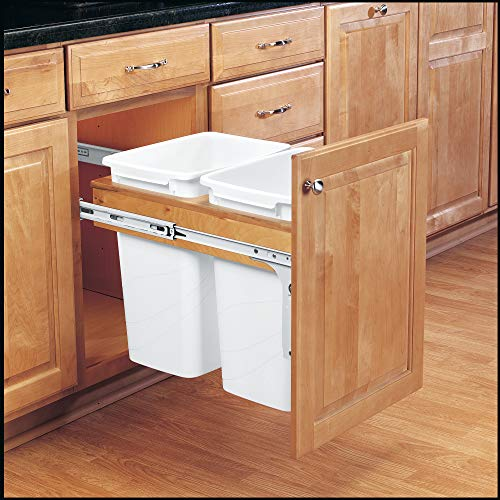 Rev-A-Shelf 4WCTM-18DM2 35 Quart Pull-Out Double Waste Trash Container Bin for Base Kitchen Cabinet, White & Maple