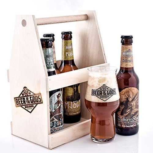 WACKEN BRAUEREI Craft Beer Tasting Geschenkset 5 x 0,33 l verschiedene Sorten + Bierglas BEER OF THE GODS | Eine Handvoll Götter | Viking Craftbeer Set Gift for Men | Wikinger Geschenk Männer