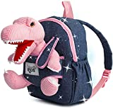 Naturally KIDS Small Dinosaur Backpack - Dinosaur Toys for Kids 3-5 - Toddler Backpack for Boy w Stuffed Animal - Toys for 3 Year Old Girl Gifts - w Pockets & Reflective Logo - Backpack w Pink T Rex