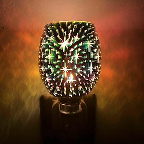 Delaman Calentador de fusión de Cera enchufable de Metal, Quemador eléctrico difusor de Aroma de Mosaico con luz LED Calentador de Aceite de fusión de Cera Regalos(US)
