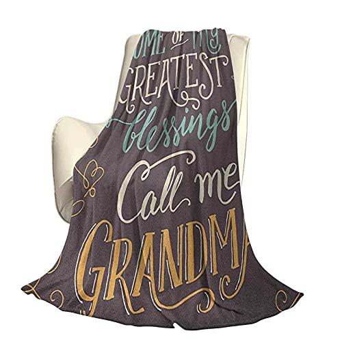 Oma Superweiche Decke zur Dekoration Größter Segen Ruf Mich Oma Zitat mit dekorativen gewirbelten und gebogenen Linien Langlebiges Reise-Schlafsofa B80 x L60 Zoll Mehrfarbig