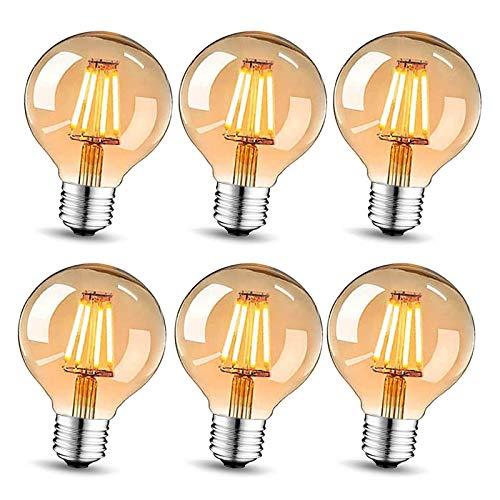 Edison Vintage Glühbirne E27, LED Vintage Glühbirne Warmweiß LED Lampen, Vintage Antike Glühbirne E27 4W,Retro glühbirne Ideal für Nostalgie und Retro Beleuchtung, 6 Stück