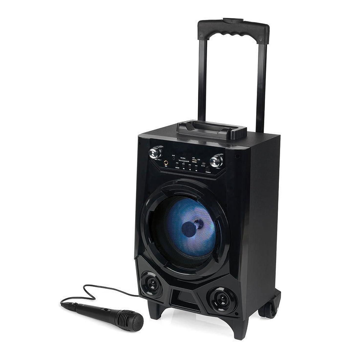 Dazone Portable Bluetooth Tailgate & Trolley Speaker Wireless Sound System w/Built-in Rechargeable Battery, FM Radio/USB/SD Slot/Karaoke Transport Wheels & Singing Microphone Black 2019 Version