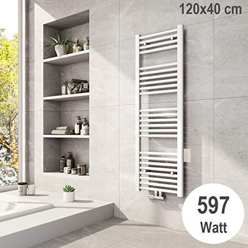 Meykoers Badheizkörper 1200x400mm Mittelanschluss 597 Watt Weiß, Handtuchtrockner Handtuchwärmer Design Heizkörper für Bad Heizung Radiator