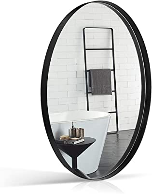 ANDY STAR Black Oval Bathroom Mirror, 24x36 Inch Modern Matte Black Frame Large Oval Wall Mounted Vanity Mirror, 2'' Deep Set for Hall Mirror Decorative, Entryway Hanging