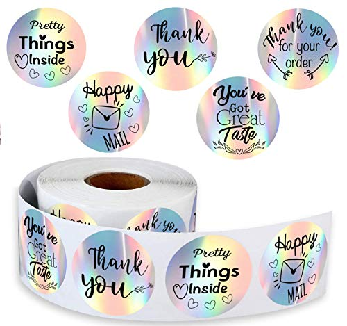"""500 Holographic 1.5"""" inch- Rainbow Label Stickers -Thank You Sticker / Pretty Things Inside / Happy Mail / You Have Got a Great Taste. Sticker for Small Businesses, Christmas Gifts, Online Stores."""