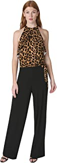 Women's Halter Bodice Animal Printed ITY Jumpsuit with Side Tie
