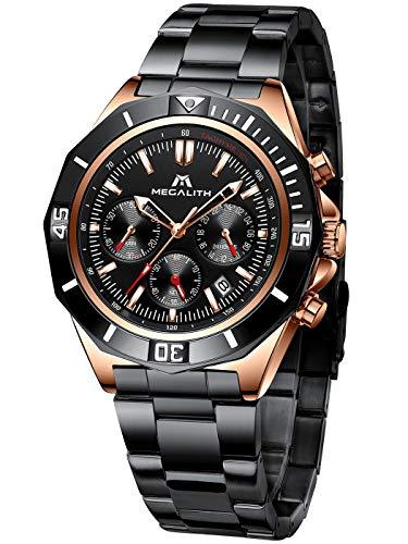 MEGALITH Herren Uhr Männer Chronographen Militär Schwarz Wasserdicht Edelstahl Armbanduhr Design Business Große Analog Modern Uhren