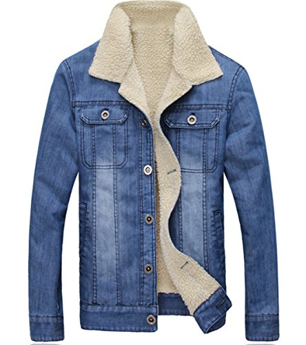 Wintie Men's Distressed Sherpa Lined Denim Blue Jacket Spread Collar Plus Size 5XL