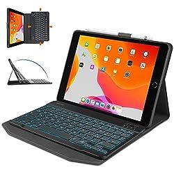 1. Clavier Bluetooth disposition italienne. L'étui est compatible avec iPad 7 2019 / 8e génération 2020 / Air 3 2019 / iPad Pro 10.5 pouces 2017. 2. Clavier détachable de la coque. Coque avec support réglable sur 3 types d'inclinaison pour obtenir un...