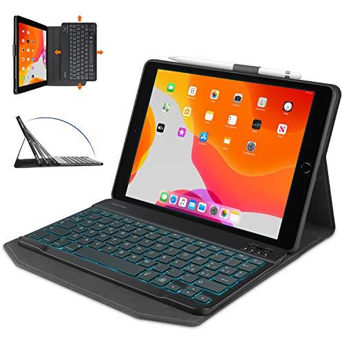 OMOTON Tastiera con Custodia per iPad 10.2 2019 7a Gen  8a Gen 2020  iPad Air 3   PRO 10.5   2017, Cover Tastiera Retroilluminata Bluetooth Staccabile, Layout Italiano QWERTY, Nero