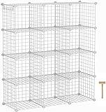 "C&AHOME Wire Cube Storage Organizer, 12-Cube Storage Shelf, Storage Bins, Modular Bookshel Shelving, DIY Closet Cabinet Ideal for Living Room, Bedroom, Office 36.6""L x 12.4""W x 48.4""H White"