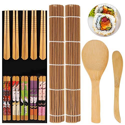 upain 9 Piezas Herramienta para Hacer Sushi de Bambú, Kit de Fabricación de Sushi para Preparar Sushi Fácil Y Profesional