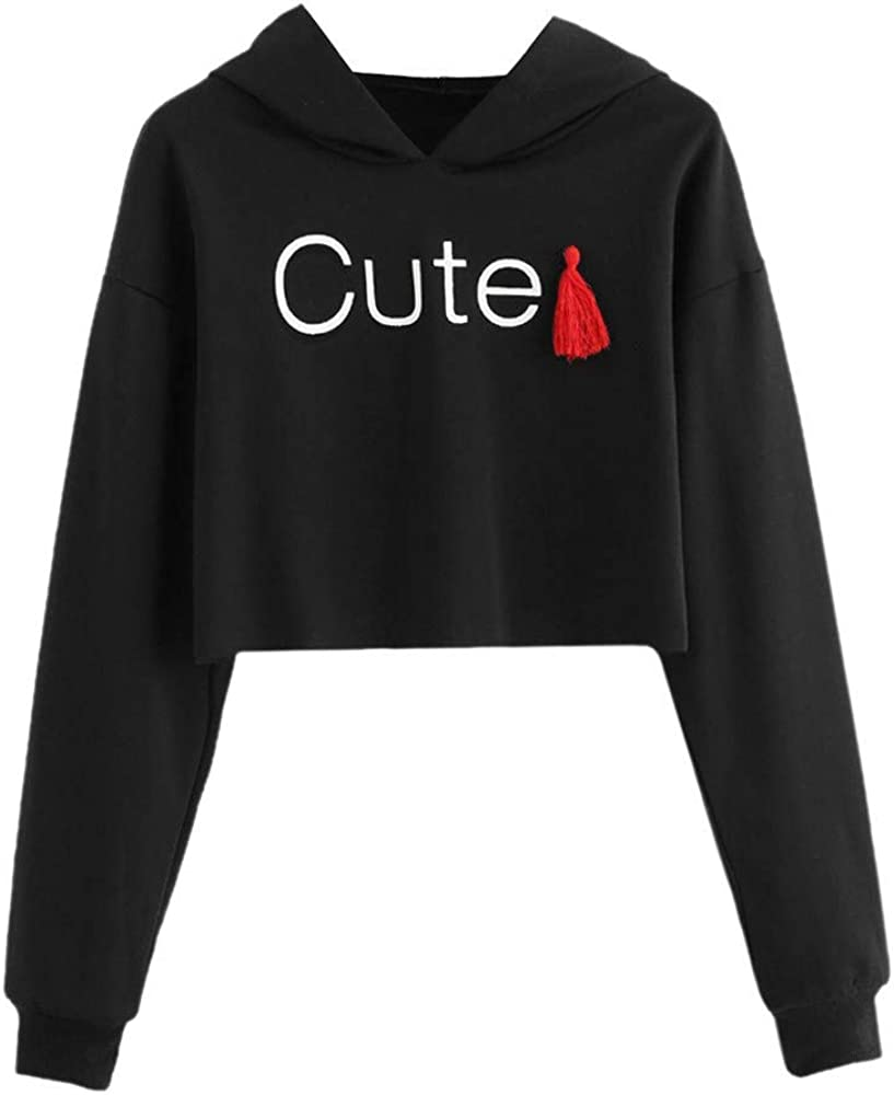 Girls' Hoodie, Misaky 2019 Autumn Cute Letter Print Long Sleeve Short Hooded Pullover Sweatshirt Blouse Tops