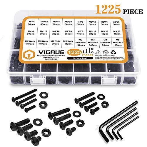 VIGRUE Kit 1225Stück M2 M3 M4 M5 Kohlenstoffstahl-Sechskopf-Knopf Schrauben Schrauben Muttern und Unterlegscheiben Sortiment Kit der mit Aufbewahrung flach Fall Box