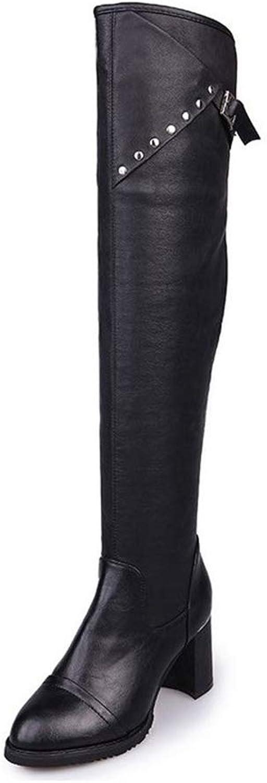 Kvinnor Kvinnor Kvinnor PU läder skor Över Knee Boot Casual High klackar Damer Lace Up mode stövlar  officiellt godkännande